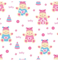Seamless pattern with cute baby hippo vector image