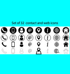 set 32 contact and web icons vector image