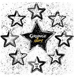 Set black grunge stars vector