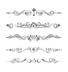 set hand drawn text dividers vignettes vector image