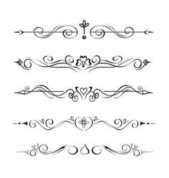 set hand drawn text dividers vignettes vector image