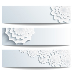Set of decorative banners with 3d chrysanthemum vector image