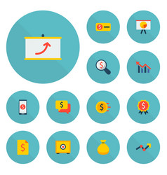 set of finance icons flat style symbols with chart vector image