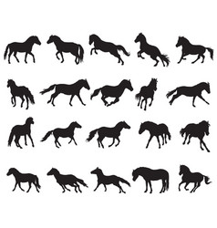 Set of isolated horses silhouettes-3 vector