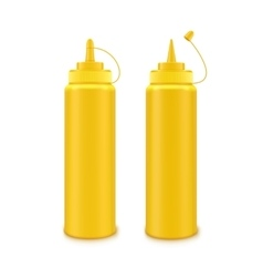 Set of plastic yellow mustard bottle isolated vector