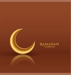 Shiny golden moon ramadan kareem festival card vector