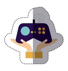 Silhouette monochrome with games remote control vector