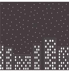 silhouette night city stars in sky vector image