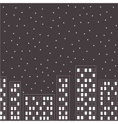 Silhouette of the night city Stars in the sky vector