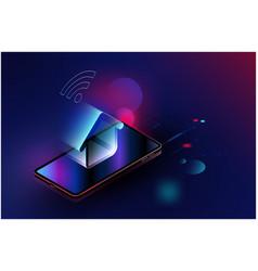 Smartphone appliances via internet futuristic vector