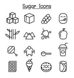 Sugar icon set in thin line style vector