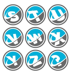 swoosh alphabet logo icons set 3 vector image