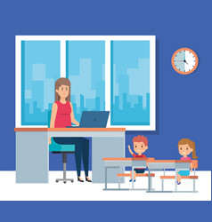 Teacher and classroom design vector