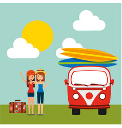 travel vacations tourist girls happy vector image