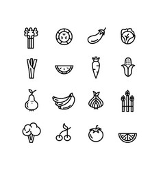 vegetables and fruits green healthy eating icons vector image