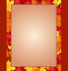 vertical border frame with fallen autumn vector image