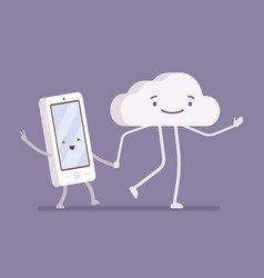 walking cloud and smartphone vector image