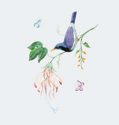 watercolor birds paradise on branch with vector image