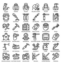 welder equipment icon set outline style vector image