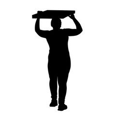 Woman carrying load on head silhouette vector