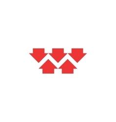 Five red converging arrows logo mockup converge vector image