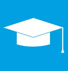 graduation cap icon white vector image