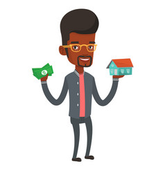 Man buying house thanks to loan vector