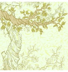 Spring vintage garden background with tree branch vector image