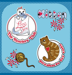 sticker label with the image of cats vector image vector image