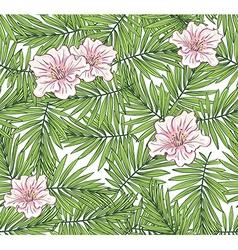 Aloha Hawaii palm leaves with flowers on the vector image
