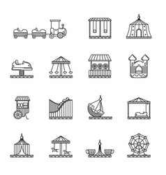 amusement circus and carousel linear icon vector image vector image