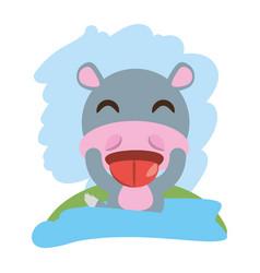 Cute hippopotamus animal winking vector