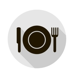 icon with a silhouette of a plate knife vector image