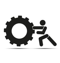 Man pushes a wheel vector image vector image