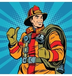 Rescue firefighter in safe helmet and uniform pop vector
