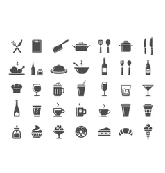 Restaurant kitchen icons vector image