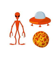 Set alien and UFO Space planet vector image vector image