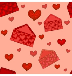 Valentine envelopes seamless pattern vector image vector image