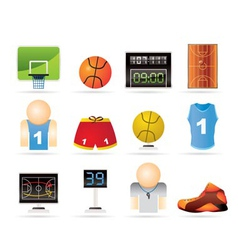 basketball and sport icons vector image