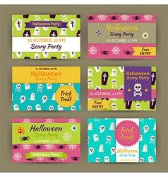 Halloween Party Invitation Template Flat Set vector image