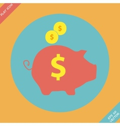 Piggy bank - saving money icon - vector image vector image
