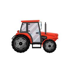 red wheeled tractor isolated icon vector image vector image