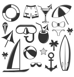 set of summer season objects in vintage vector image