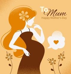Vintage beautiful pregnant woman vector image vector image