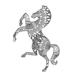 drawing zentangle for horse adult coloring page vector image