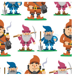fairy tale fantastic gnome seamless pattern vector image vector image