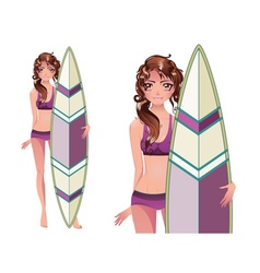 Girl with Surfing Board4 vector image