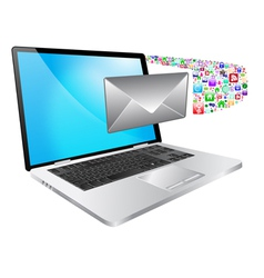 laptop and message vector image vector image