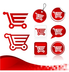 Red Shopping Cart Design Kit vector image vector image