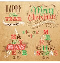 Set Merry Christmas Happy Kraft color vector image